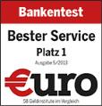 Platz 1 Bester Service lt. der Fachzeitschrift €uro